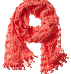 db2ad9628 Banana Republic Orange Sheer Textured Dot Tassel Scarf/Wrap - Tradesy