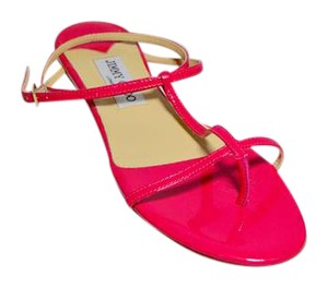 Jimmy Choo Thong Patent Leather Hot Pink Sandals