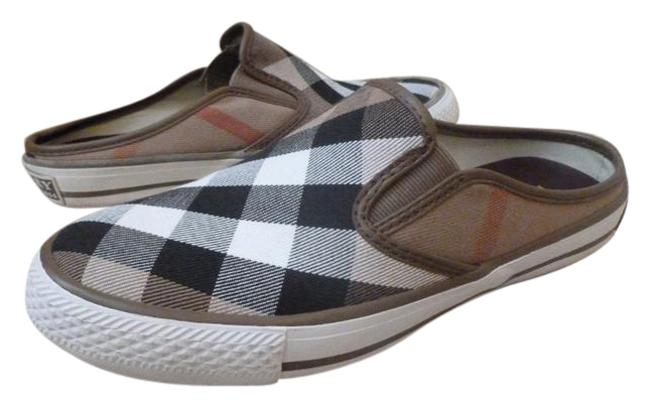 Item - Beige Tan Nova Check Canvas Loafers Flats Mules/Slides Size US 7