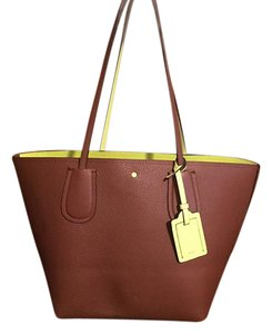 Coach Taxi Large Crossgrain Leather Tote in Saddle
