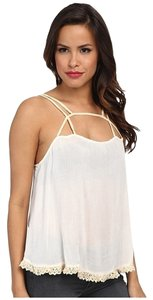 Free People Lace Gauze Flowy Top IVORY