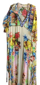 Cobalt blue, yellow, red, cream Maxi Dress by Rococo Sand Kaftan Silk Floral Maxi