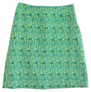 David Brooks Floral And Spandex Skirt Green