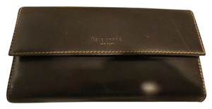 Kate Spade KATE SPADE CHOCOLATE BROWN LEATHER WALLET with TAN STITCHING