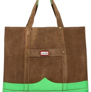 Hunter khaki color suede with bright green. Travel Bag