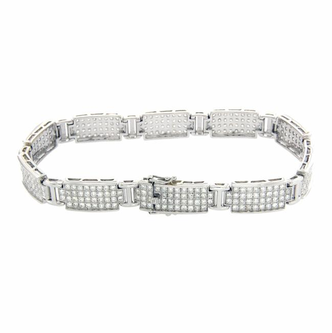 Luxo Jewelry Men's\ Women's 14k White Gold with 5.80 Ct Diamonds Pave Bracelet Luxo Jewelry Men's\ Women's 14k White Gold with 5.80 Ct Diamonds Pave Bracelet Image 1