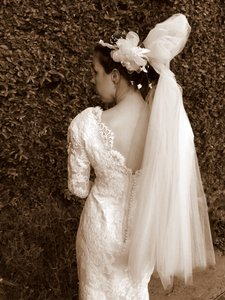 Beaded & Lace Satin Sheath Wedding Dress