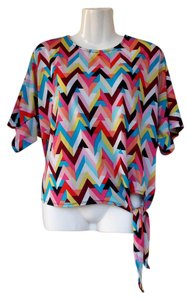NY Collection Colorful Chevron Side Tie Tie Top pink, blue, white, yellow, red, black