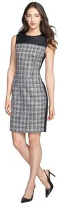 T Tahari Office T By Tweed Faux Leather Details Sheath Dress