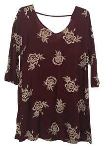 Express short dress Maroon/Cream Floral Stitched on Tradesy