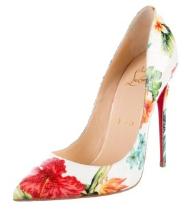 Christian Louboutin Pigalle Follies Floral Pointed Toe Print Green, Black, White, Red Pumps