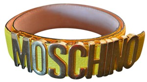 Moschino GOLD PLATED MOSCHINO LOGO BELT BLACK SZ 40 (36 inches long)