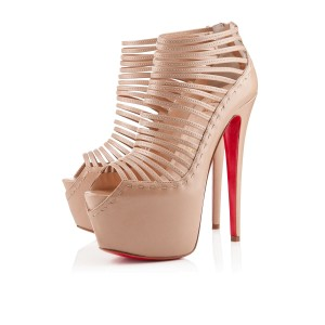 Christian Louboutin Cage Platform Peep Toe Ankle Zoulou Beige Boots