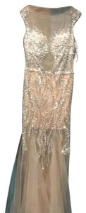 nude /silver Maxi Dress by Terani Couture