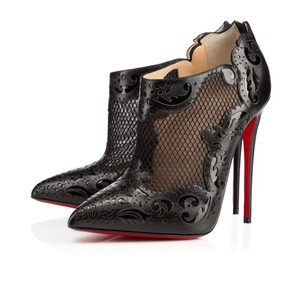 Christian Louboutin Mandolina Pointed Toe Cut-out Embellished Textured Black Boots
