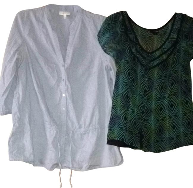 Preload https://item4.tradesy.com/images/east-5th-essentials-light-blue-green-black-casual-blouse-size-10-m-2133263-0-0.jpg?width=400&height=650