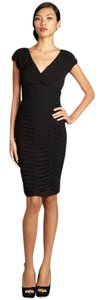 Adrianna Papell Cocktail V-neck Lined Flattering Fit Pleated Dress