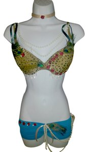 AgaTha CouTure, Soho Girl Hot Panty and Maidenform Bra Choker Burlesque Gold Cheetah & Turquoise Halter Top