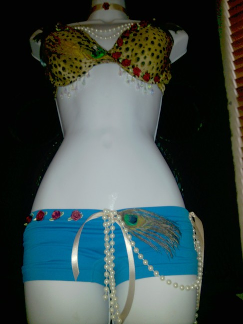 AgaTha CouTure, Soho Girl Hot Panty and Maidenform Bra Burlesque Las Vegas Stage Lingerie Gold Cheetah & Turquoise Halter Top