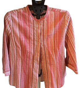 Christopher & Banks Button Down Shirt pink stripes