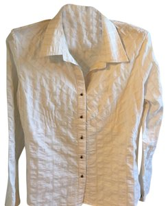 Faded Glory Button Down Shirt white with gold stripes