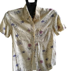 Erika Button Down Shirt pale yellow with floral