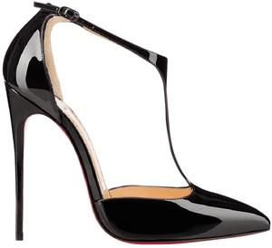 Christian Louboutin Heels J String T Strap Patent Leather Black Pumps