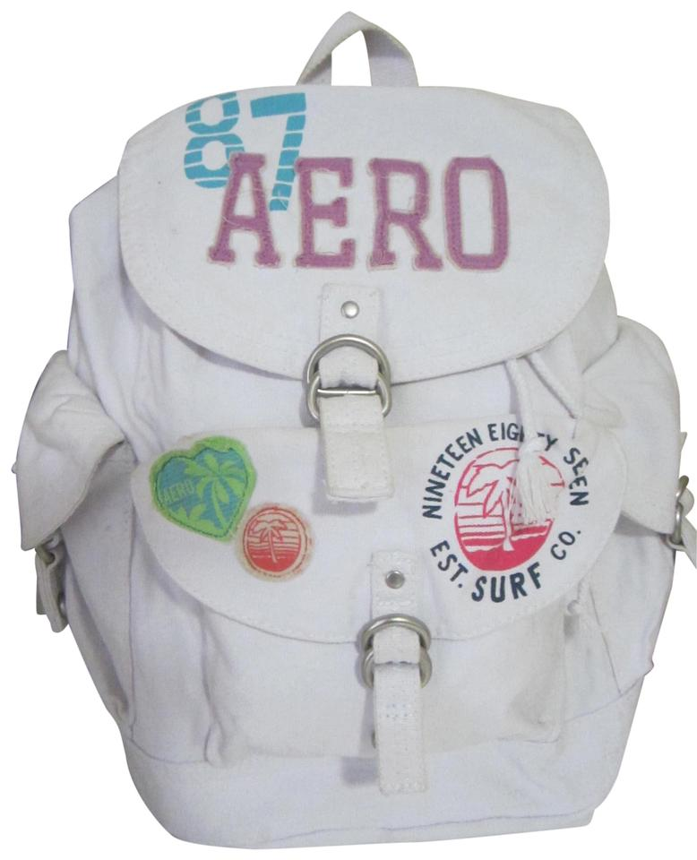 2fd2533614 Aéropostale Aero Athletics Solid White Cotton/Canvas Backpack 39% off retail
