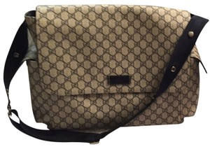 Gucci Grey/khaki And Navy Letters Diaper Bag