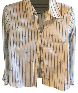 Chico's Button Down Shirt white with black stripes