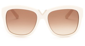 Valentino Valentino Women's Ivory Oversized V Accent Rectangle Glam Sunglasses