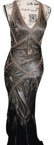 Cache Beaded Gown Bronze Pewter Silver Dress