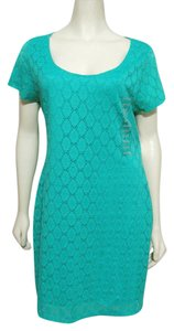 Isaac Mizrahi short dress teal green New Nwt Short Eyelet Lace Lined Xl 16 18 Nylon Stretch Bodycon Summer on Tradesy