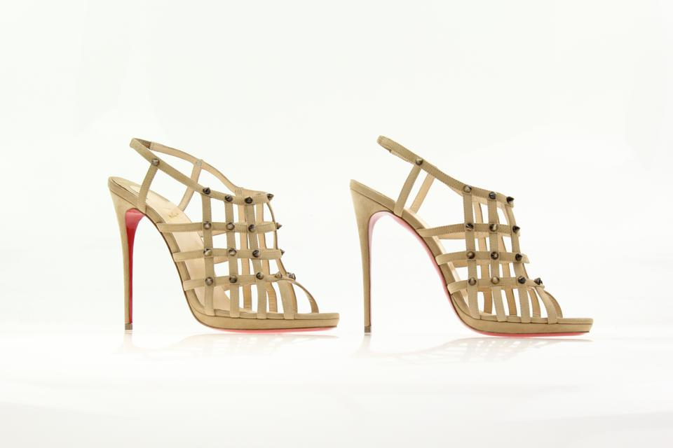 50875ecdac1 Christian Louboutin Beige Guinievre 120 Abricot Studded Cage Slingback  Pumps Size EU 41 (Approx. US 11) Regular (M, B) 70% off retail