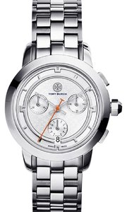 Tory Burch NWT Stainless Steel/Silver Chronograph 37mm watch TRB1001