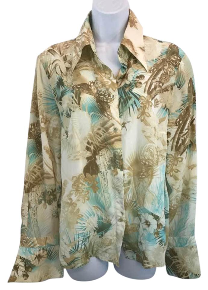 021a0bf2c17954 Escada Printed Button Down Silk 40 Blouse Size 10 (M) - Tradesy