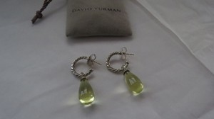David Yurman SS Open Hoop Bijoux Lemon Citrine Briolet Charm Drop Earrings