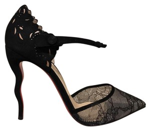 Christian Louboutin Magicadiva Stiletto Lace Ankle Strap Curve black Pumps