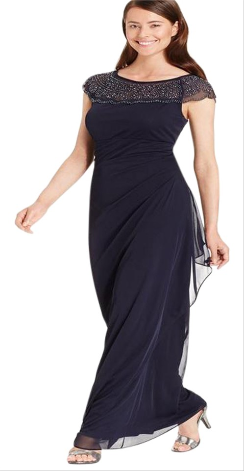 04850cefe8e MSK Navy Embellished Side-ruffle Gown Long Cocktail Dress Size 12 (L ...