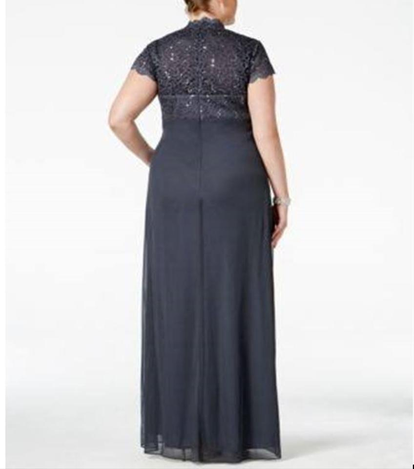 Betsy & Adam Gray/Steel Sequined Lace Draped Gown A18436w Long ...