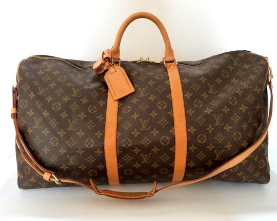 Louis Vuitton Keepall 60 Bandouliere Duffle Luggage Soft Sided Carryon brown Travel Bag
