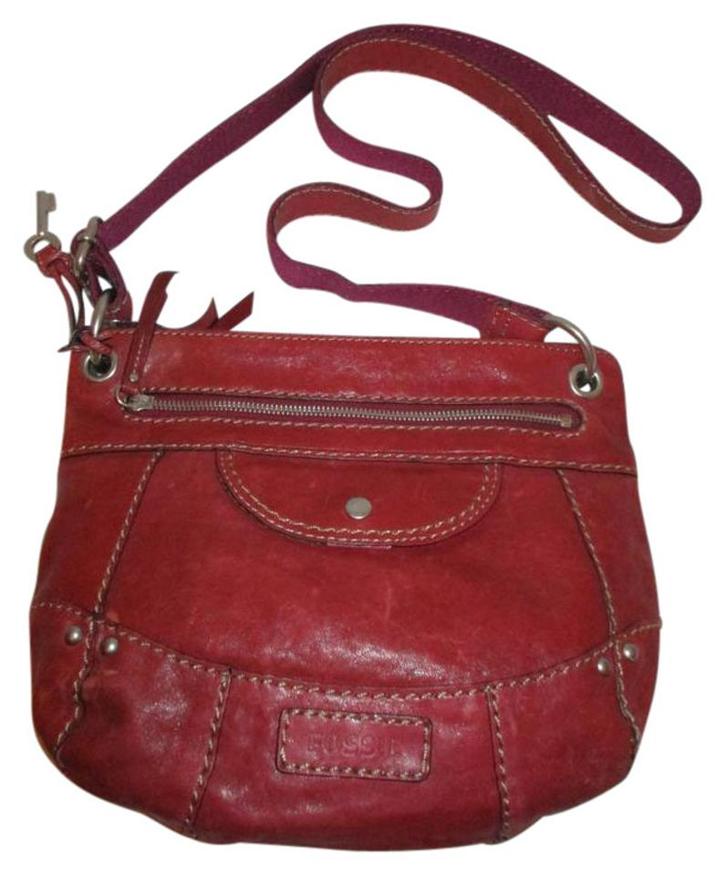 a8045fdb6f71 Fossil Shoulder Dark Red Leather Cross Body Bag