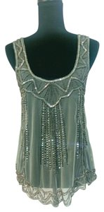 Willow & Clay Beads Embellished Beaded Flapper Top Mint green