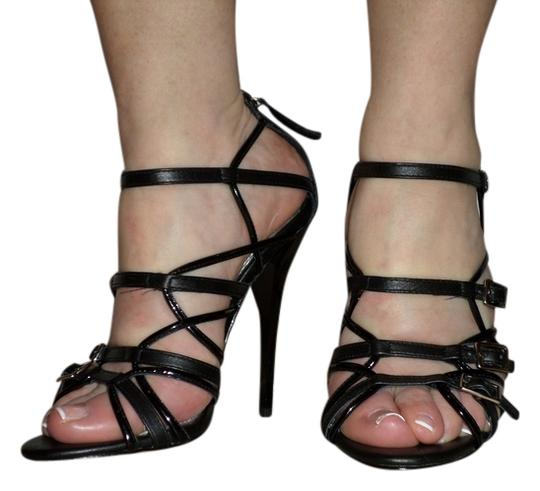 bebe High Heel Sexy Leather Black Sandals