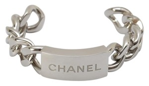 Chanel Chanel 15P Classic Chunky Silver HW Cuff Chain Link Nameplate Bracelet