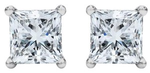 Other ** NWT ** PRINCESS-CUT SOLITARE 14K GOLD ( 2.00 CT ) STUD EARRINGS