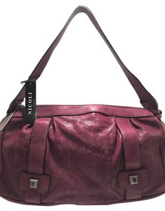 NICOLI Leather Purple Shoulder Bag
