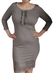 Paola Frani Short Grey Brown Curvy Flowers Dress