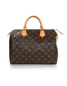 Louis Vuitton Speedy Monogram Top Handle Canvas Tote in brown