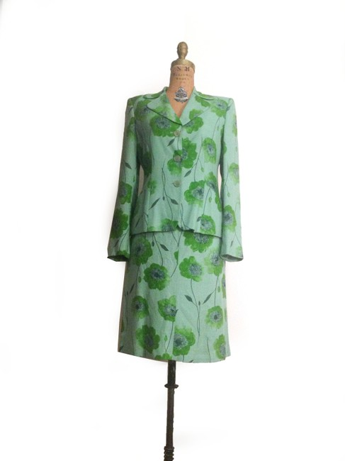 Cheap and Chic by Moschino Green Floral Linen Skirt Suit